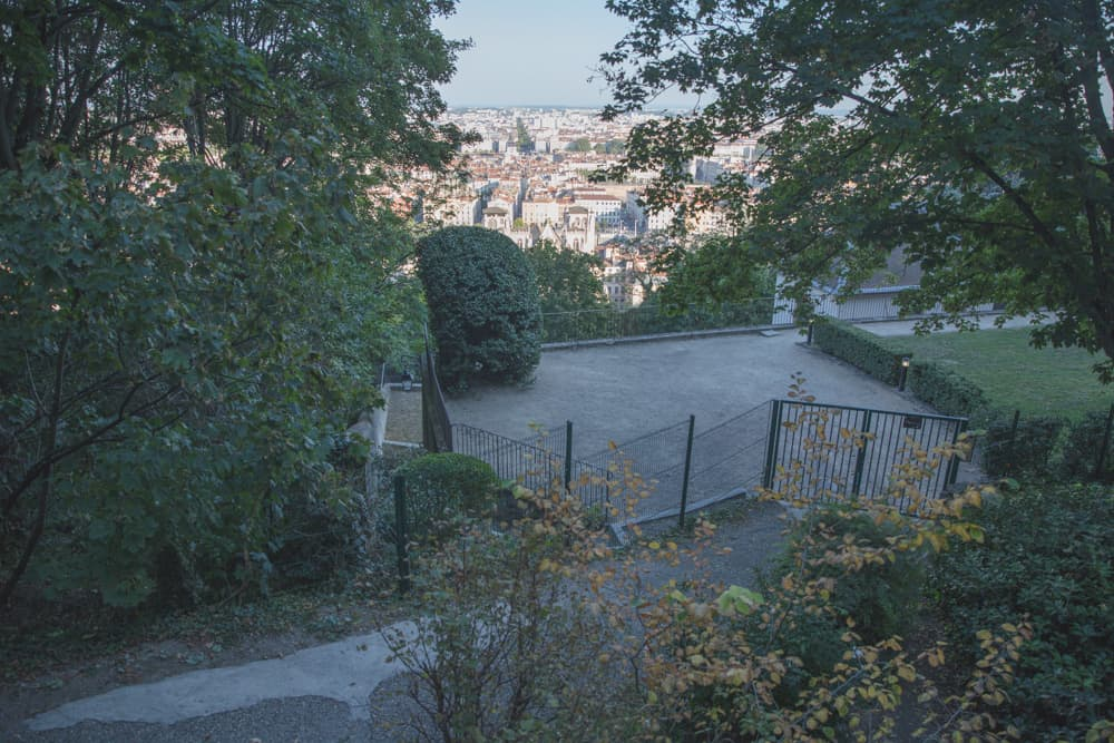 A park with a view of the city on the way up to Fourvière Hill in Lyon, France