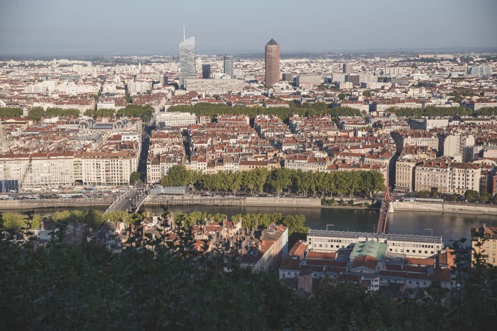 The view from Fourvière Hill of Lyon around sunset.
