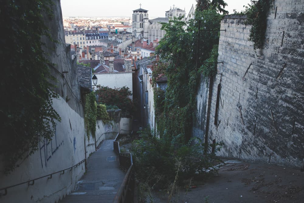 The view of some stairs leading down to Old (Vieux) Lyon on our way up to Fourvière Hill