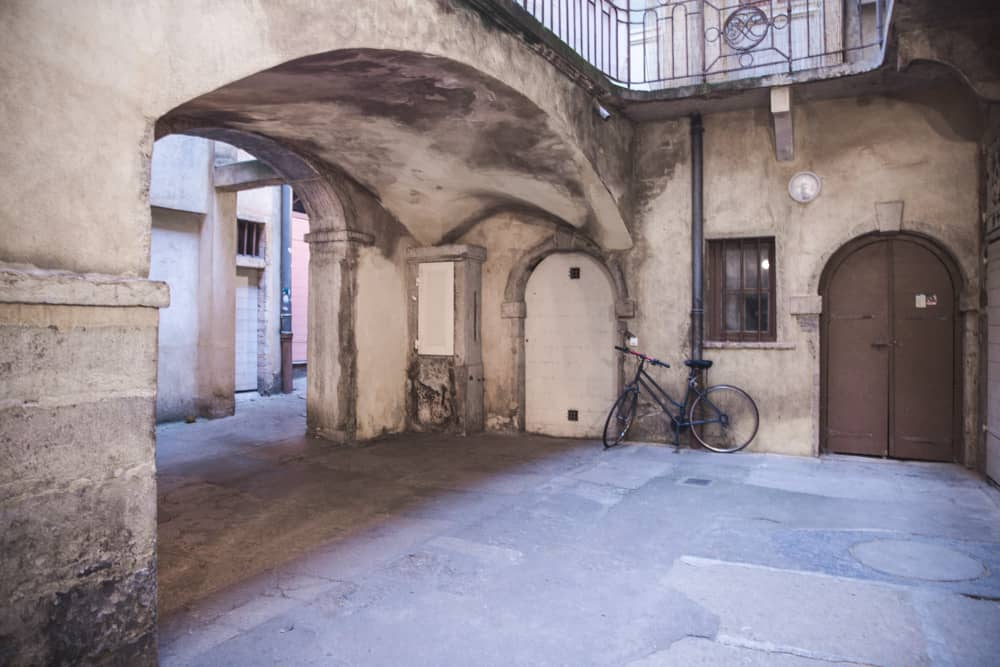 Inside a traboule in Old (Vieux) Lyon