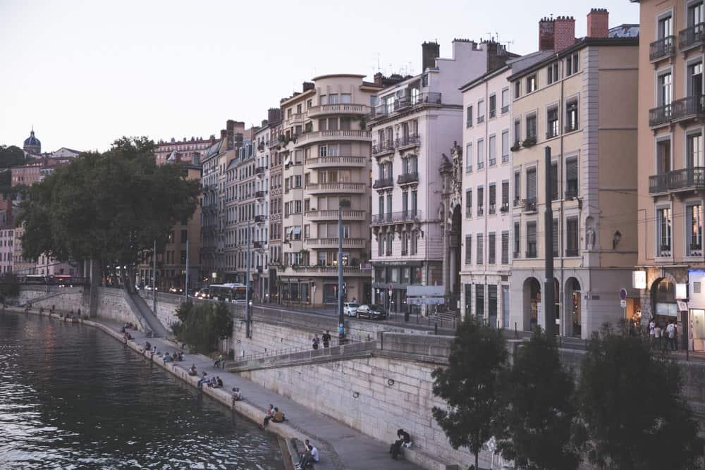 Pastel buildings along the River Saône in Lyon