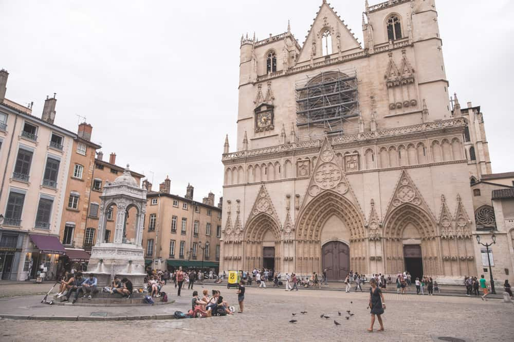 Saint Jean Cathedral in the main square in Old (Vieux) Lyon