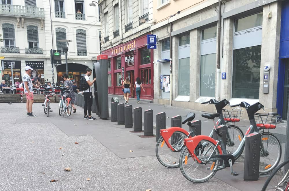 These Vélo'v Bikes parked at various stations in Lyon, France are a great and easy way to get around the city!