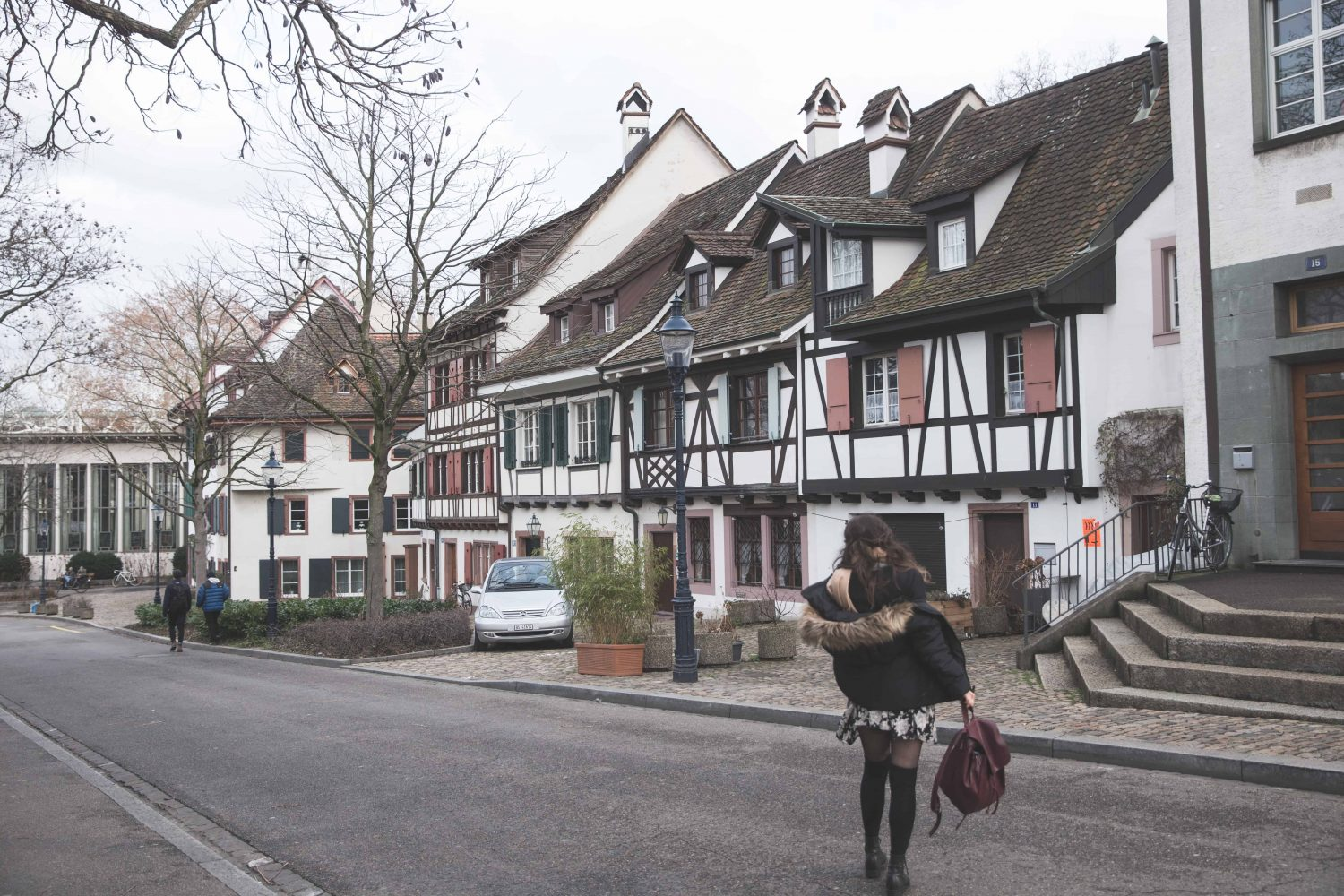Half-timbered houses on a street in Basel, Switzerland