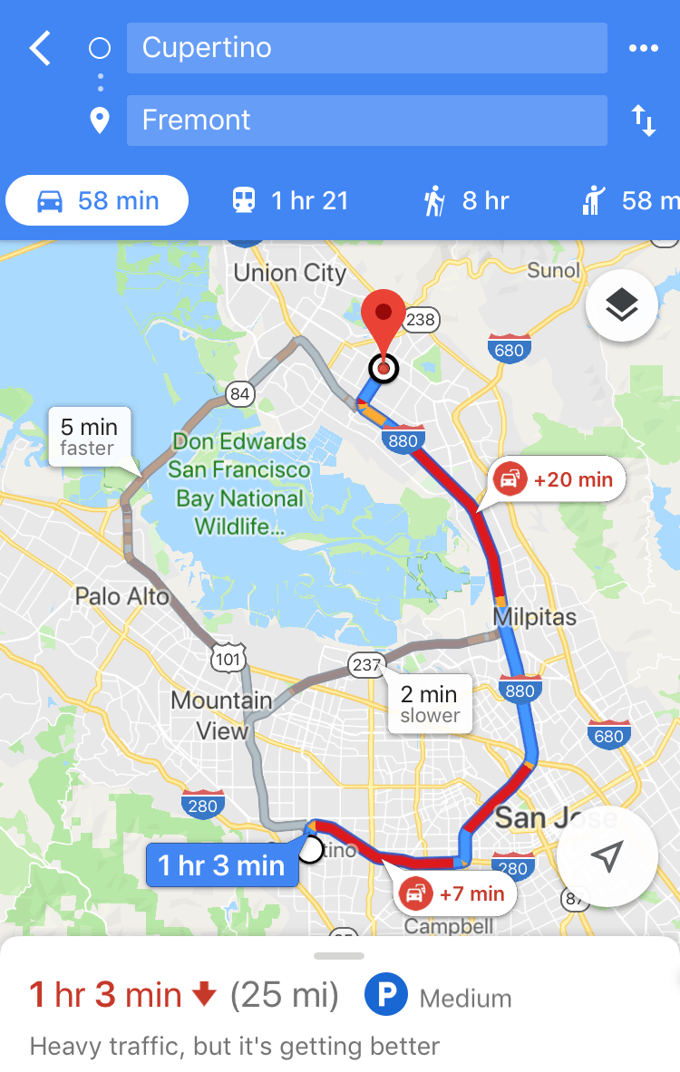 Traffic Map of the East and South Bay Area (Fremont to Cupertino) on Google Maps