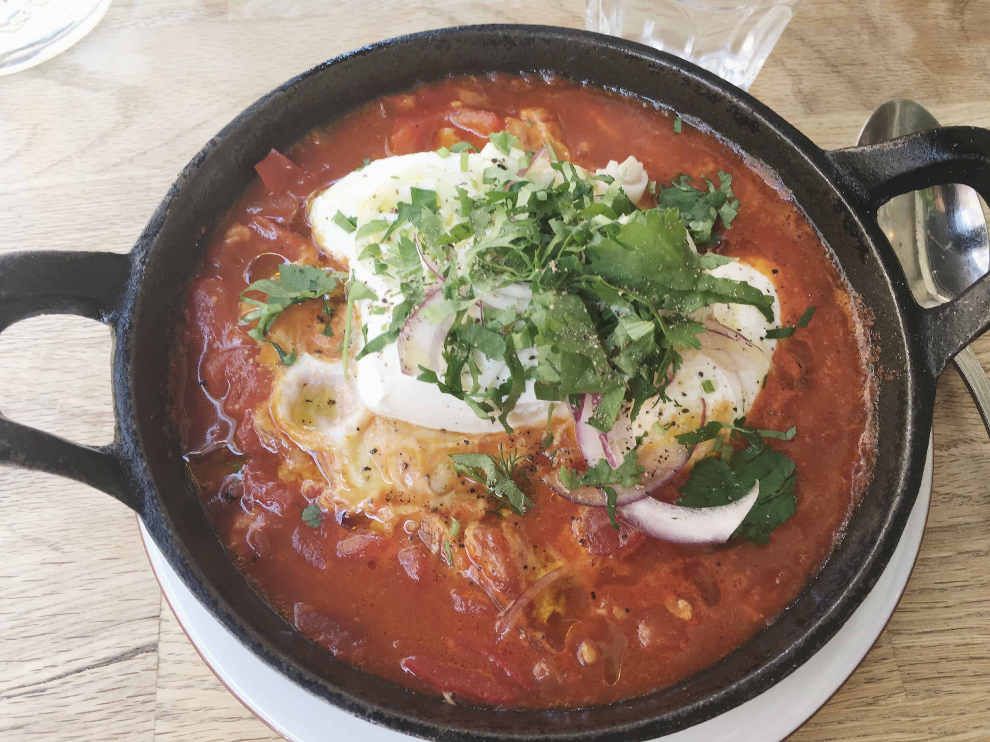 Shakshuka, or eggs in tomato sauce, originated from North Africa but is now a very popular dish in places in the Middle East, such as Israel
