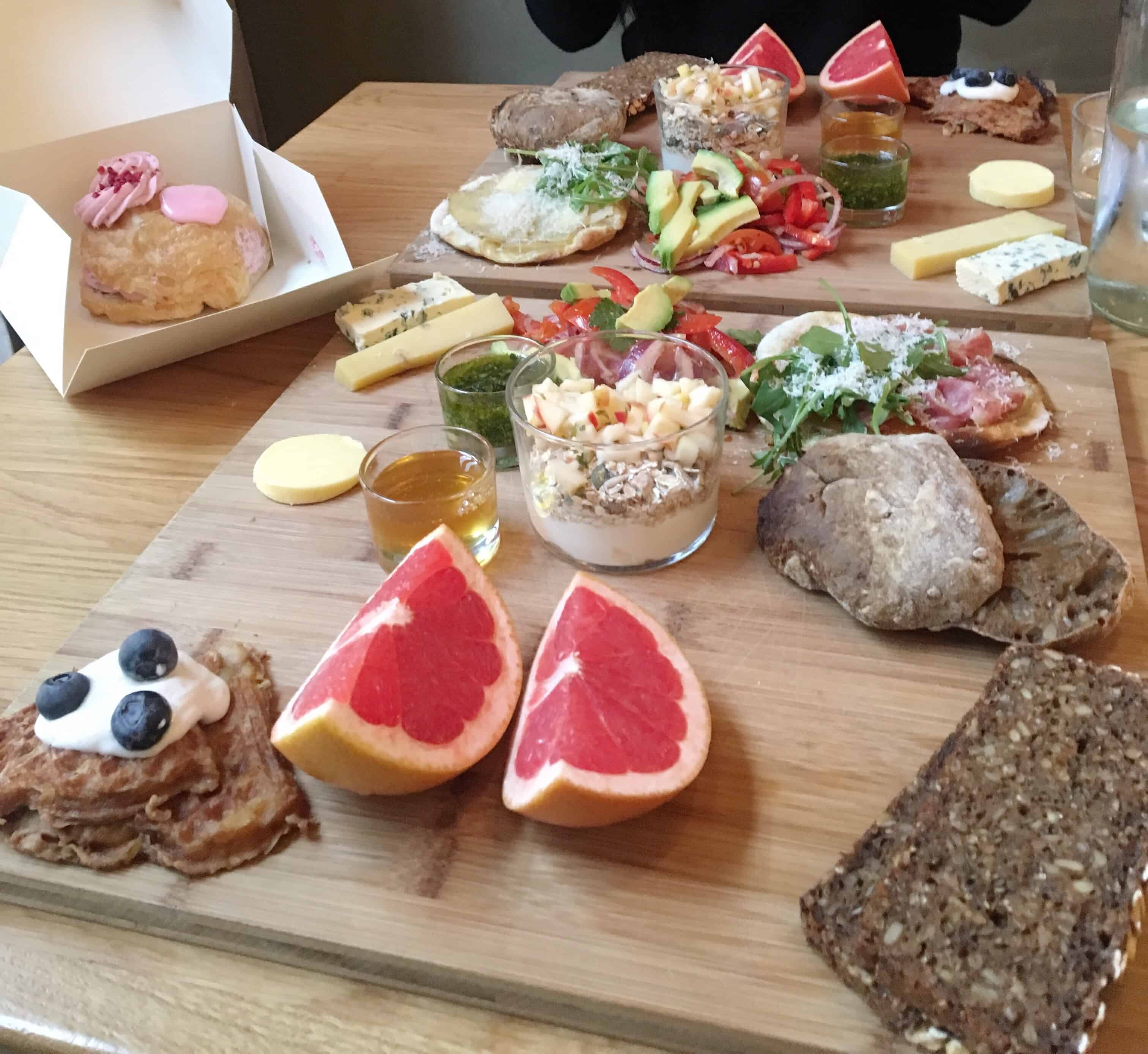 Brunch in Copenhagen, Denmark consists of a variety of small portions