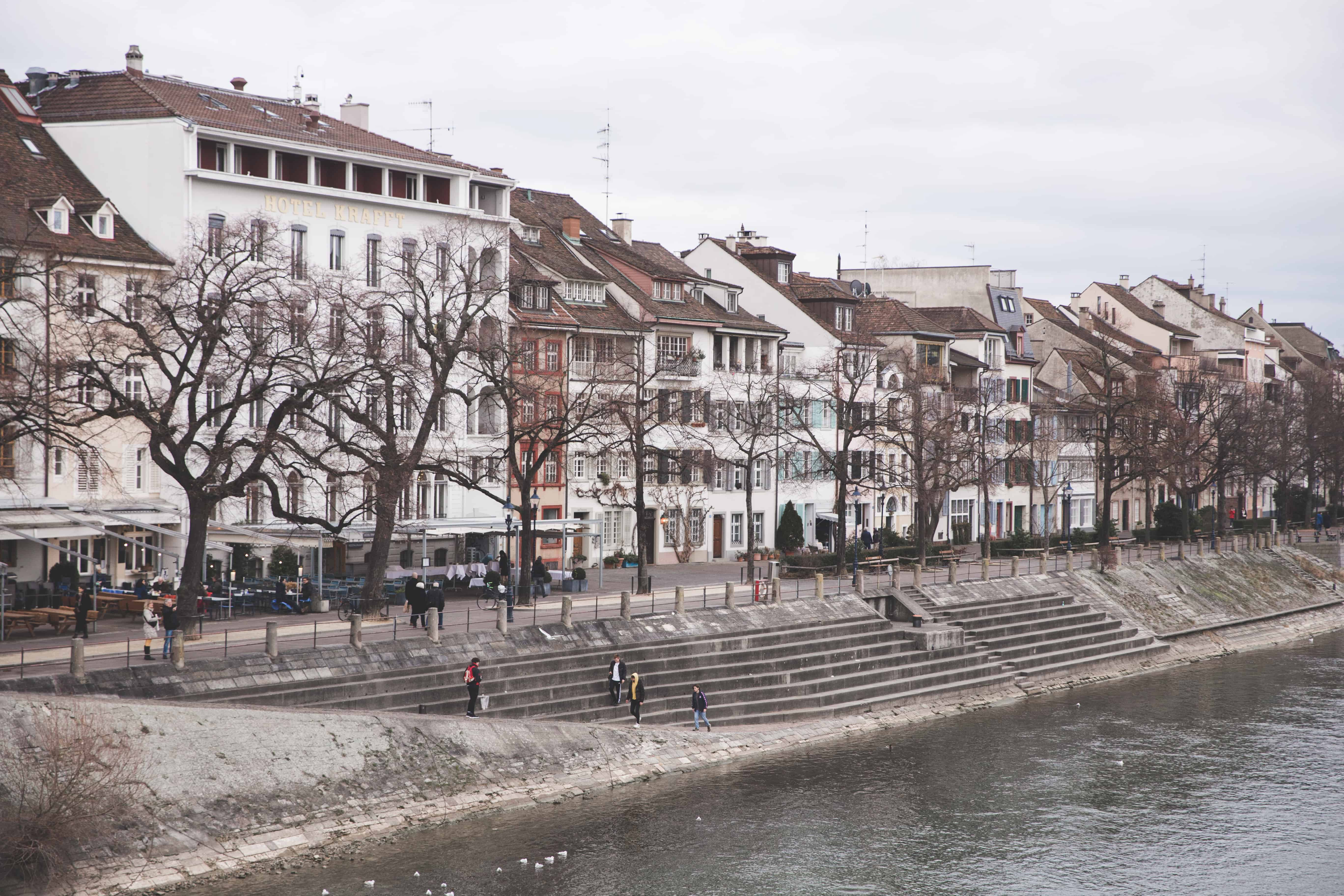 Buildings along the Rhine River that runs through Basel, Switzerland