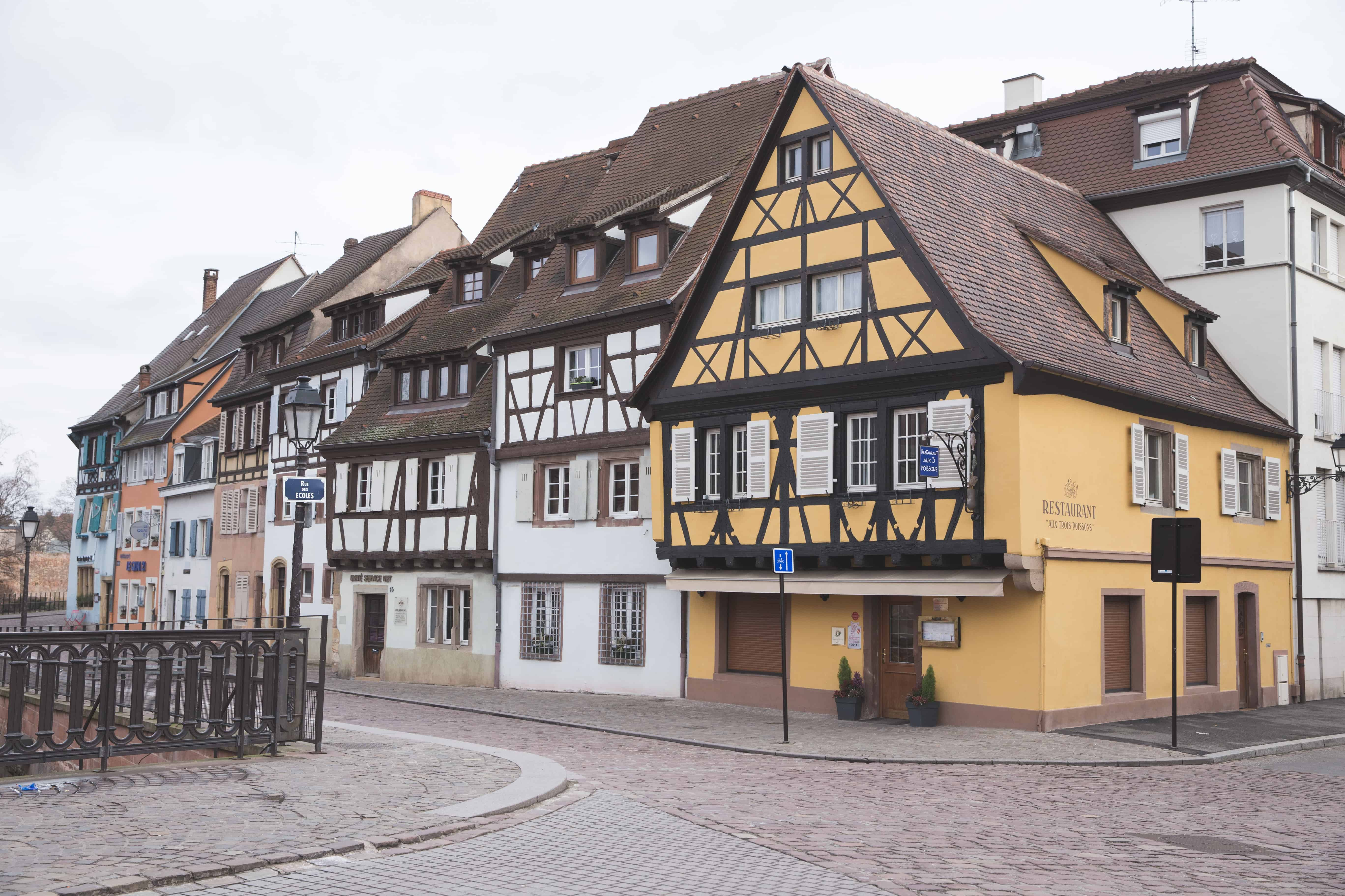 Colmar, France in the Alsace region is full of cobblestone streets and colorful half-timbered buildings and houses