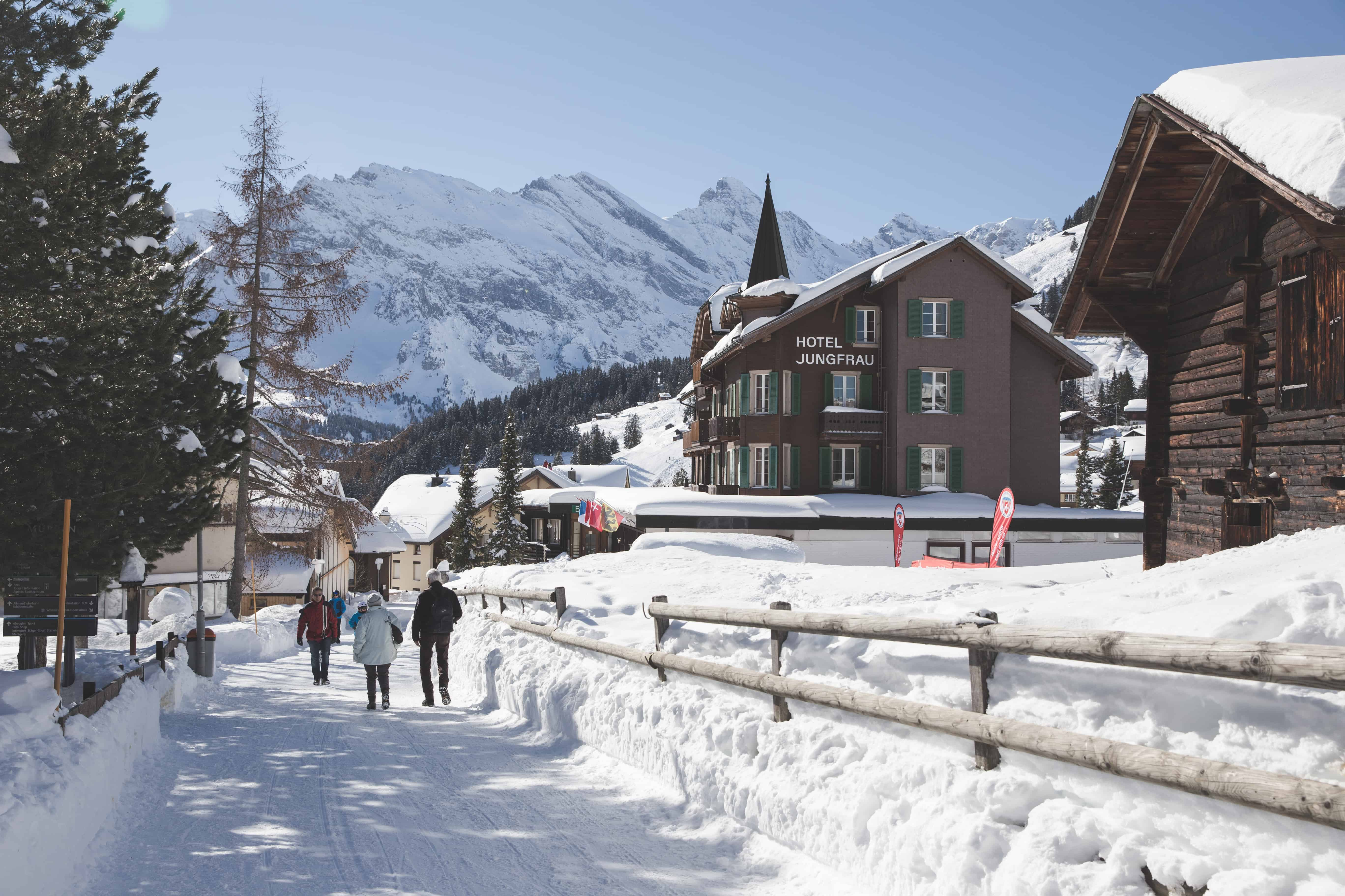 Mürren is classic Swiss Alps ski town, and a great winter day trip from Basel, Switzerland!