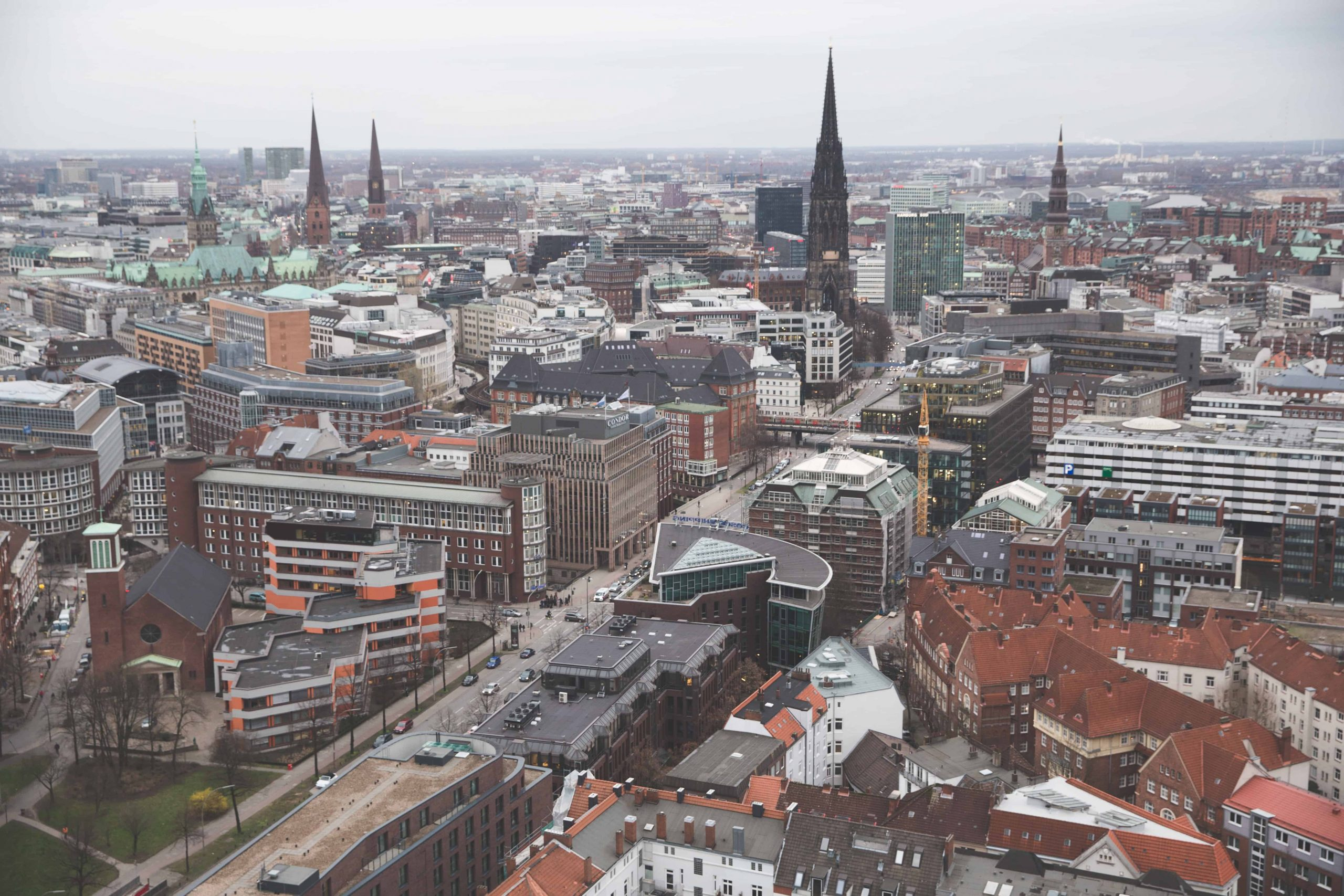 View of buildings in Hamburg, Germany from Saint Michael's Church (Michel)