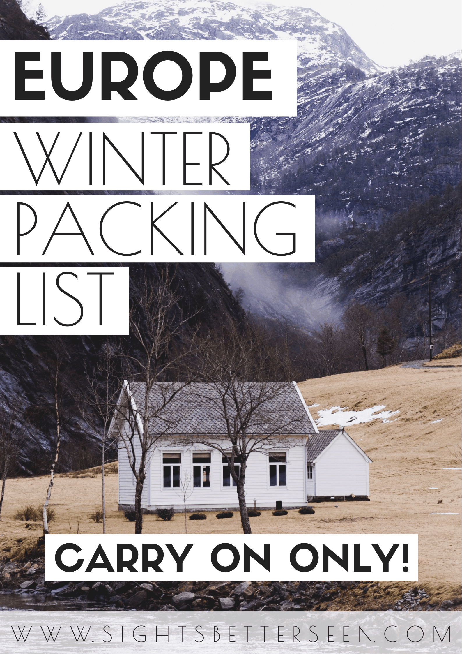 The best winter packing list in Europe for women traveling with a carry on suitcase.