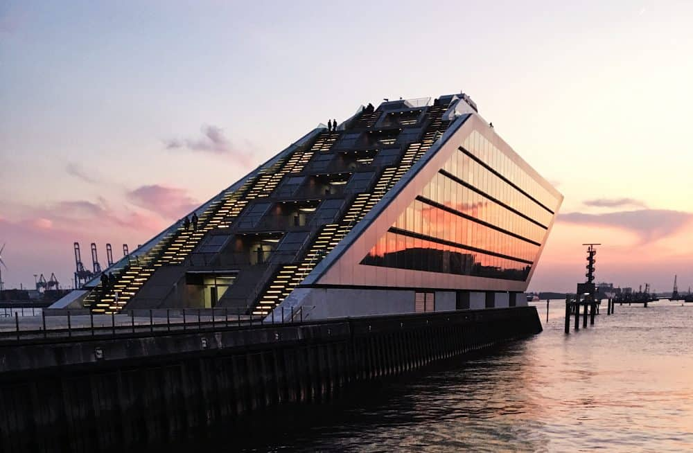The Docklands Office Building at sunset at Landungsbrücken in Hamburg, Germany