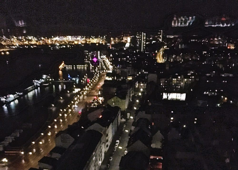 The view from Skyline Bar 20UP in Hamburg, Germany at night