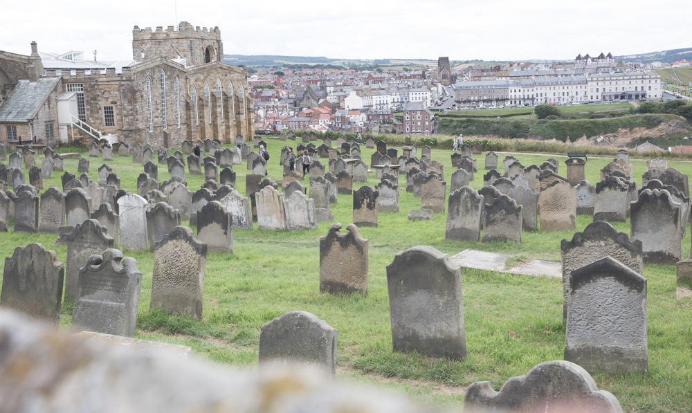Graveyard at St Mary's Church in Whitby, England at the Whitby Abbey