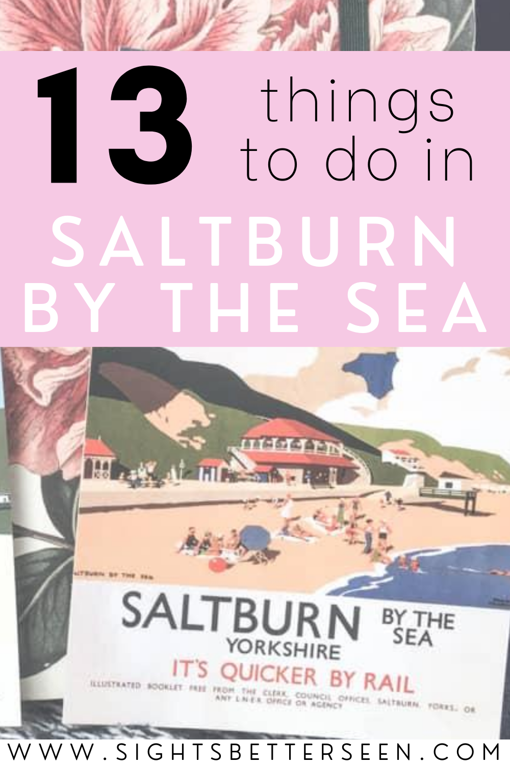 "Saltburn-by-the-Sea vintage postcard with the slogan ""It's Quicker by Rail"""