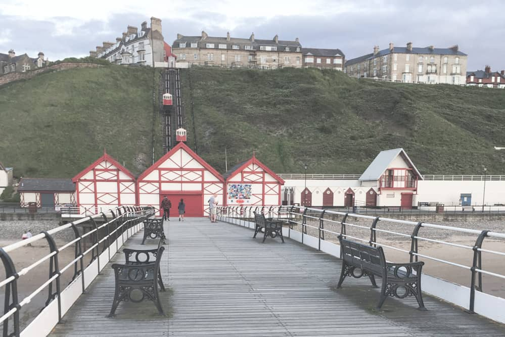 View of the Saltburn Amusement Arcade, Pier, and Saltburn Cilff Tramway