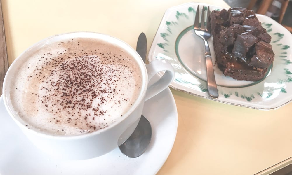 Coffee and a brownie from The Sitting Room in Saltburn-by-the-Sea, England