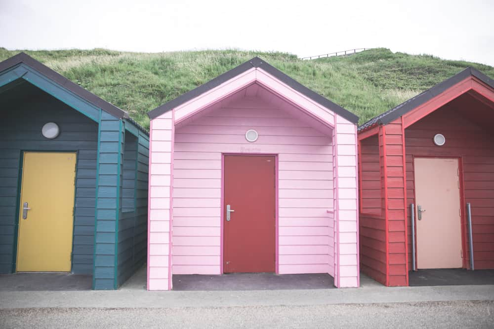 Colorful Marshall's Beach Huts in Saltburn-by-the-Sea can be rented out