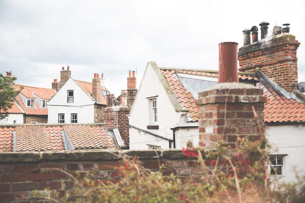 Orange tiled rooftops in Robin Hood's Bay, a pretty Yorkshire coastal town to visit in England