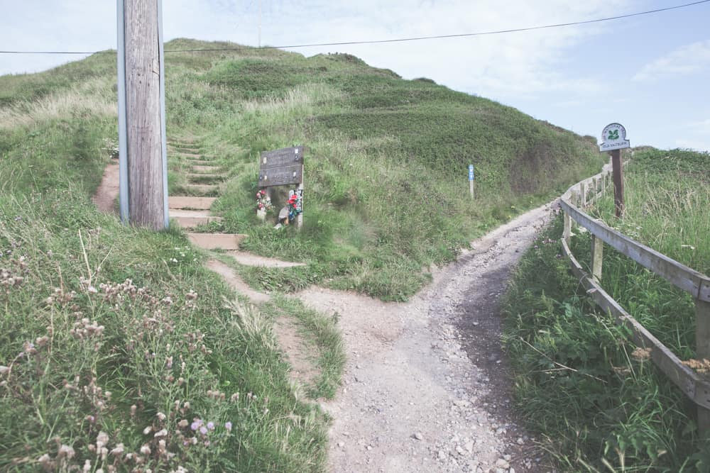 The path along The Cleveland Way in Saltburn-by-the-Sea that goes along the cliffs