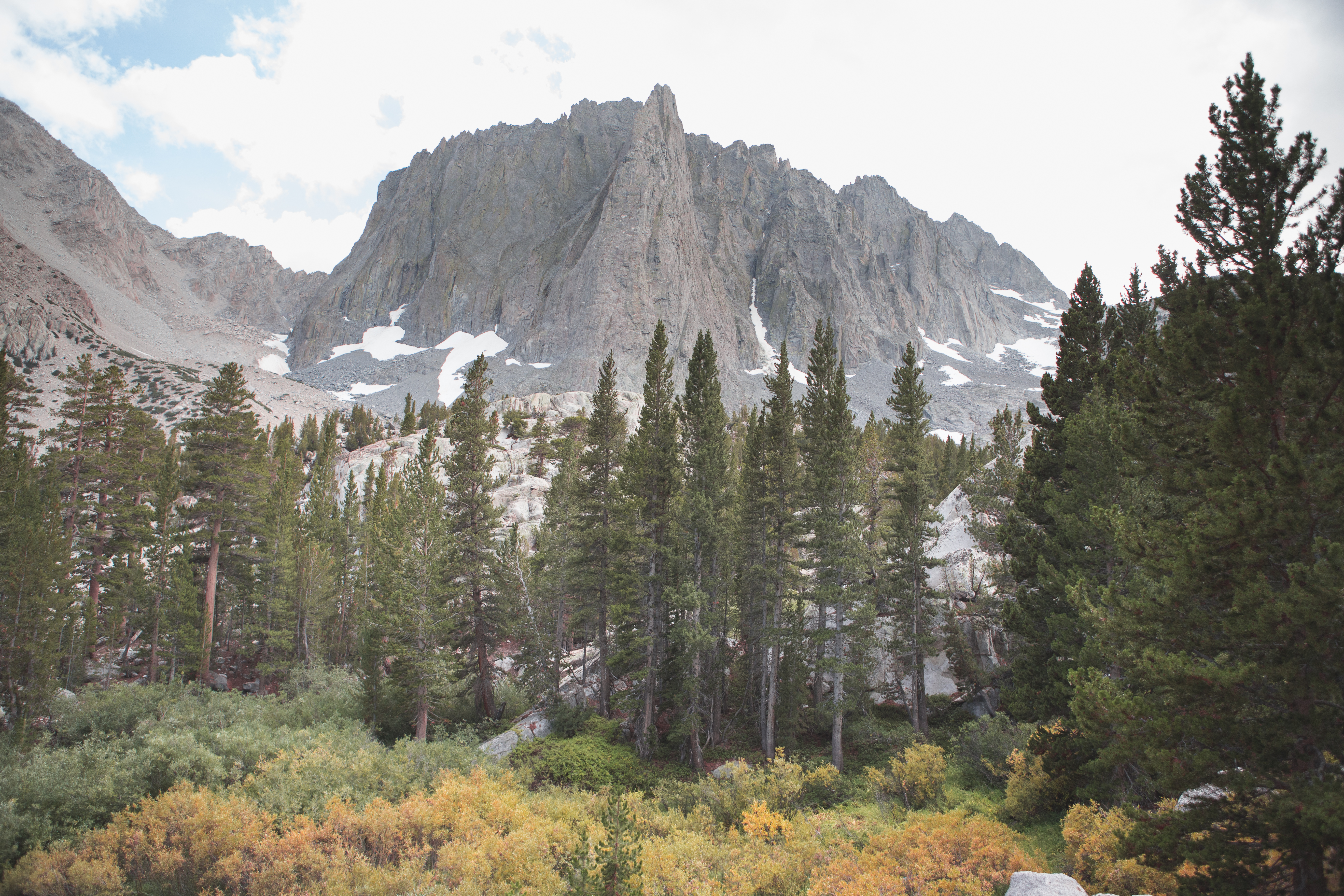 Mammoth, California in the fall on the Big Pine Lake Loop with Temple Crag