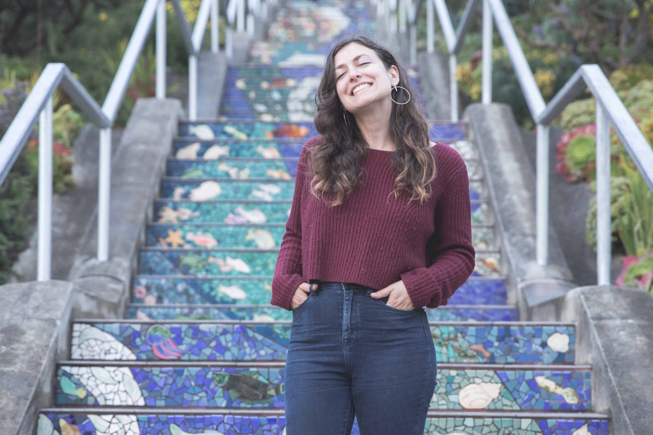 Kelsey in front of the 16th Avenue Tiled Steps in San Francisco, California