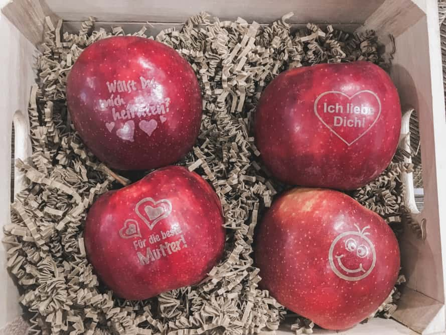 You can laser a picture or words on your apple at Herzapfelhof Lühs!
