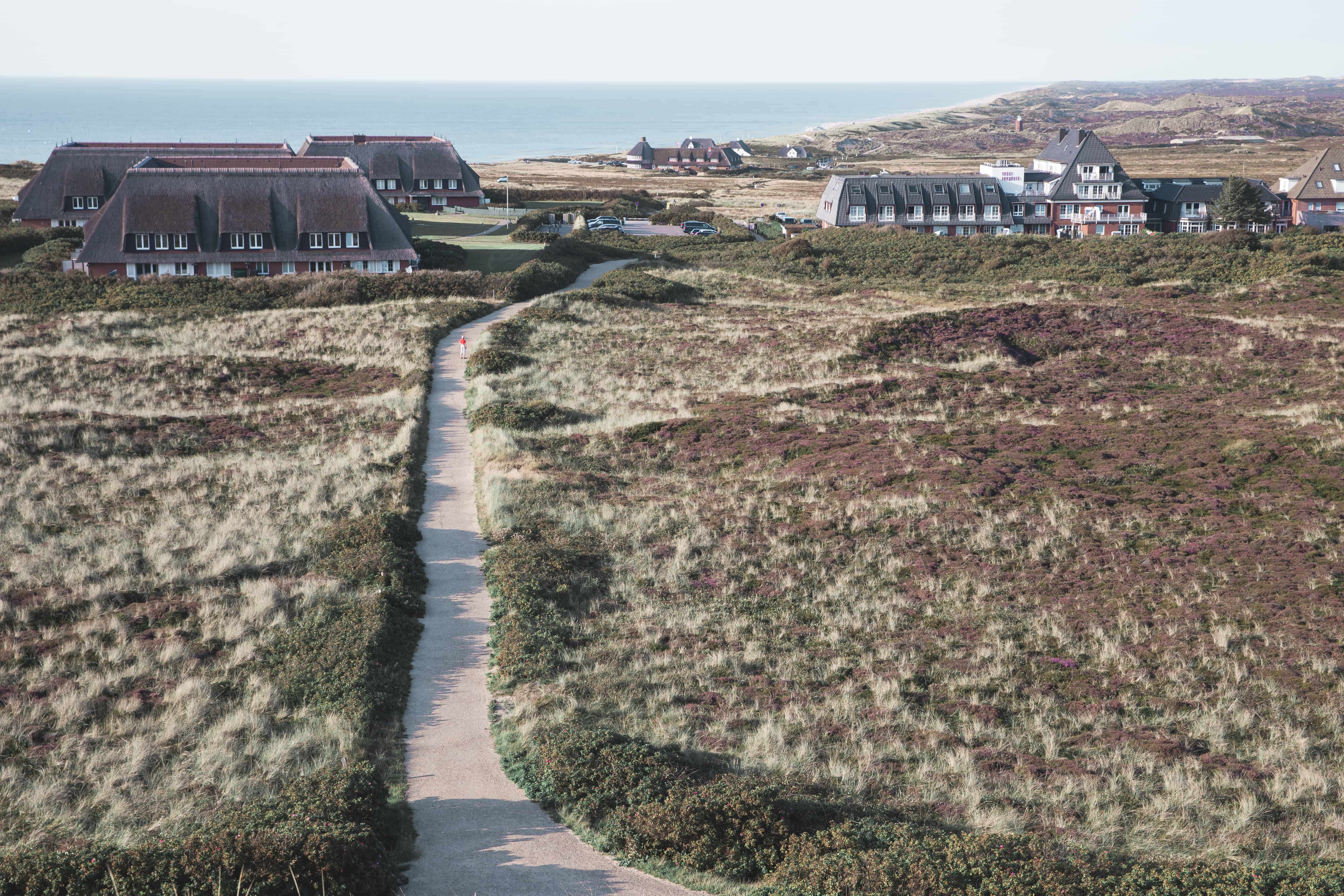 View of traditional thatched German houses from Uwe-Düne (Uwe Dune) on the island of Sylt in Germany