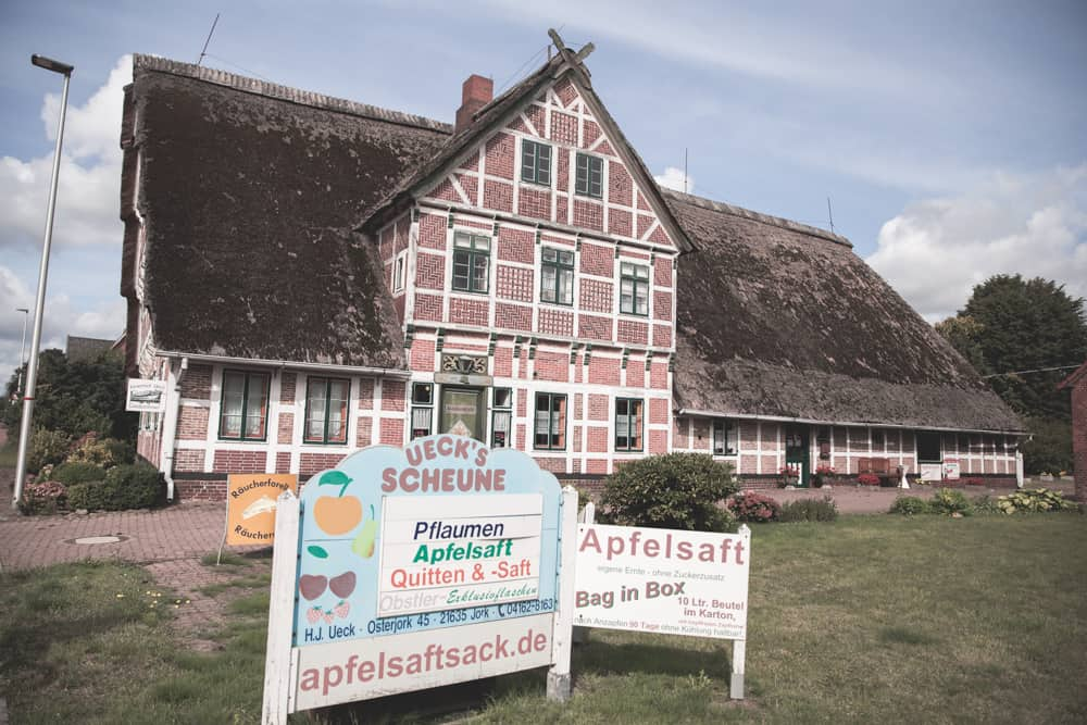 The Apfelsaftsack Obstohof Ueck, a store in Altes Land, Germany