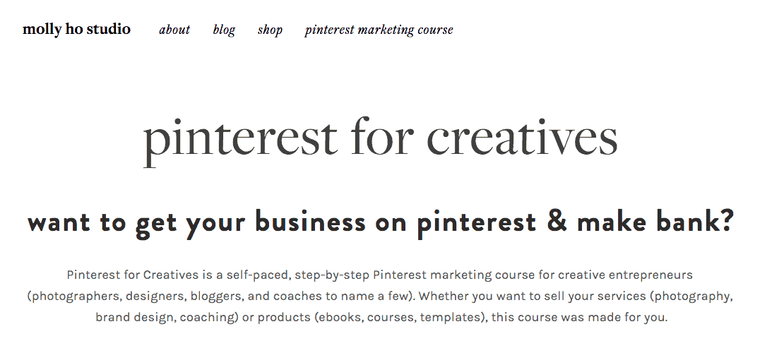 Text says: Pinterest for Creatives