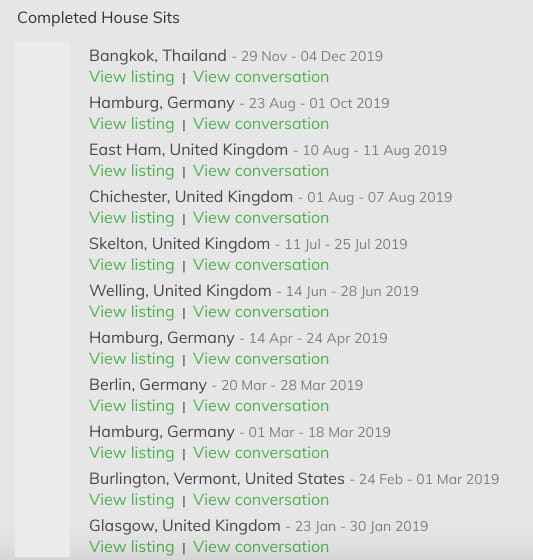 A list of my completed house sits on Trusted Housesitters - I've been lucky enough to house sit in places like Germany, England, Scotland, and Thailand!