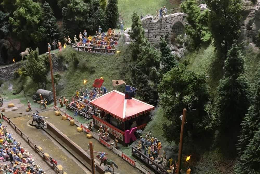 "Pink wooden letters are hidden in some Miniatur Wunderland installations, like this ""K""."