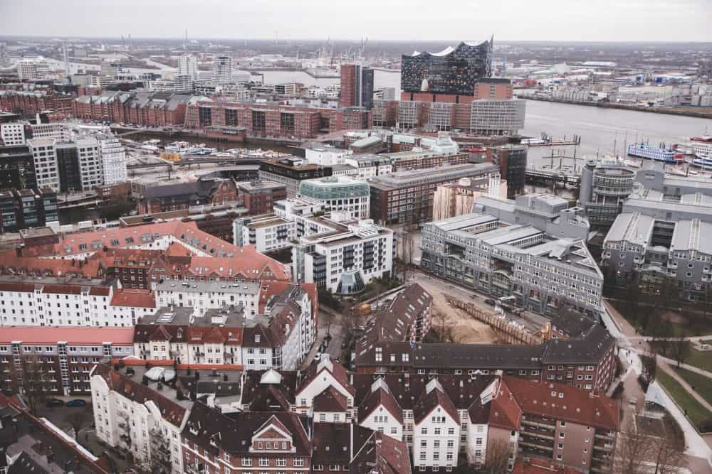 View from the tower at St. Michael's Church in Hamburg - you can see many other churches, the harbor, and the Elbphilharmonie!