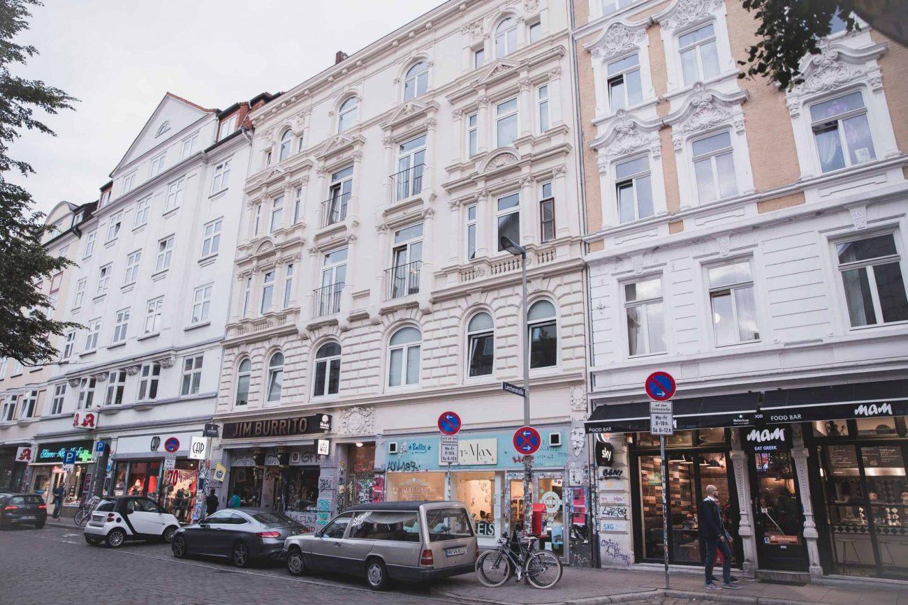 Main street in Sternschanze in Hamburg, Germany