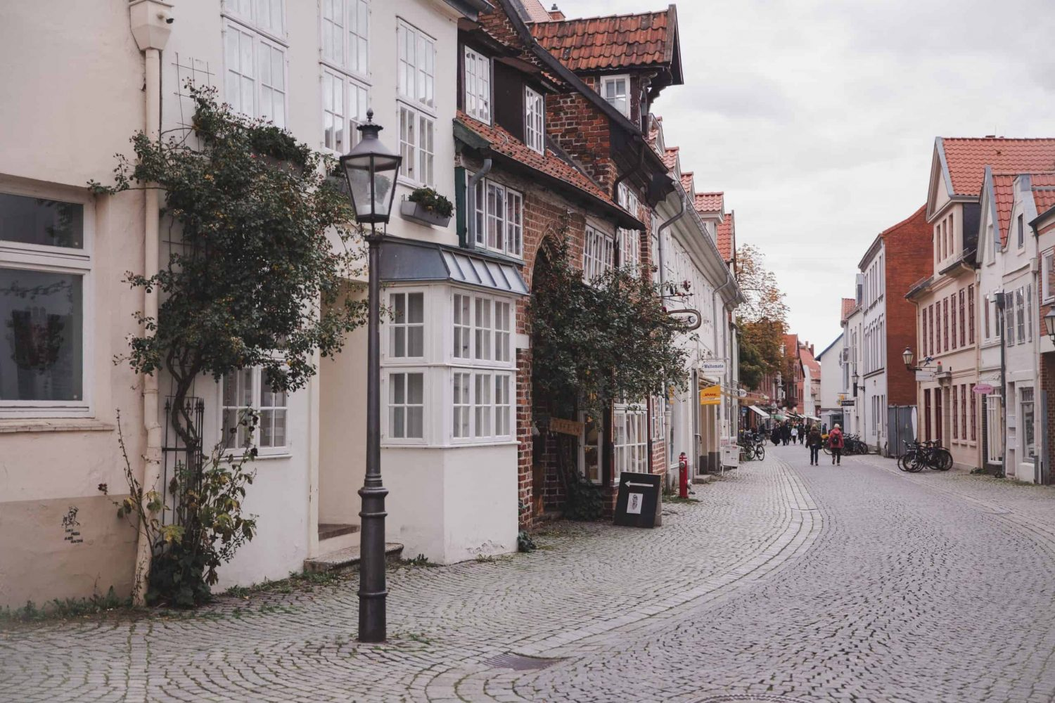 Cobblestone street in Lüneburg lined with pretty buildings.