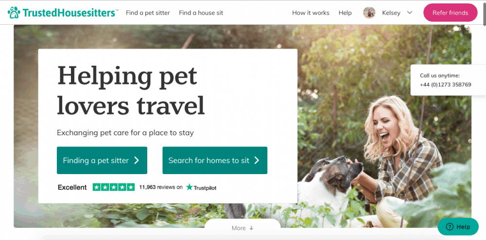 The Trusted Housesitters website's homepage - Trusted Housesitters is a great website to use to start house sitting and travel the world for (almost) free!