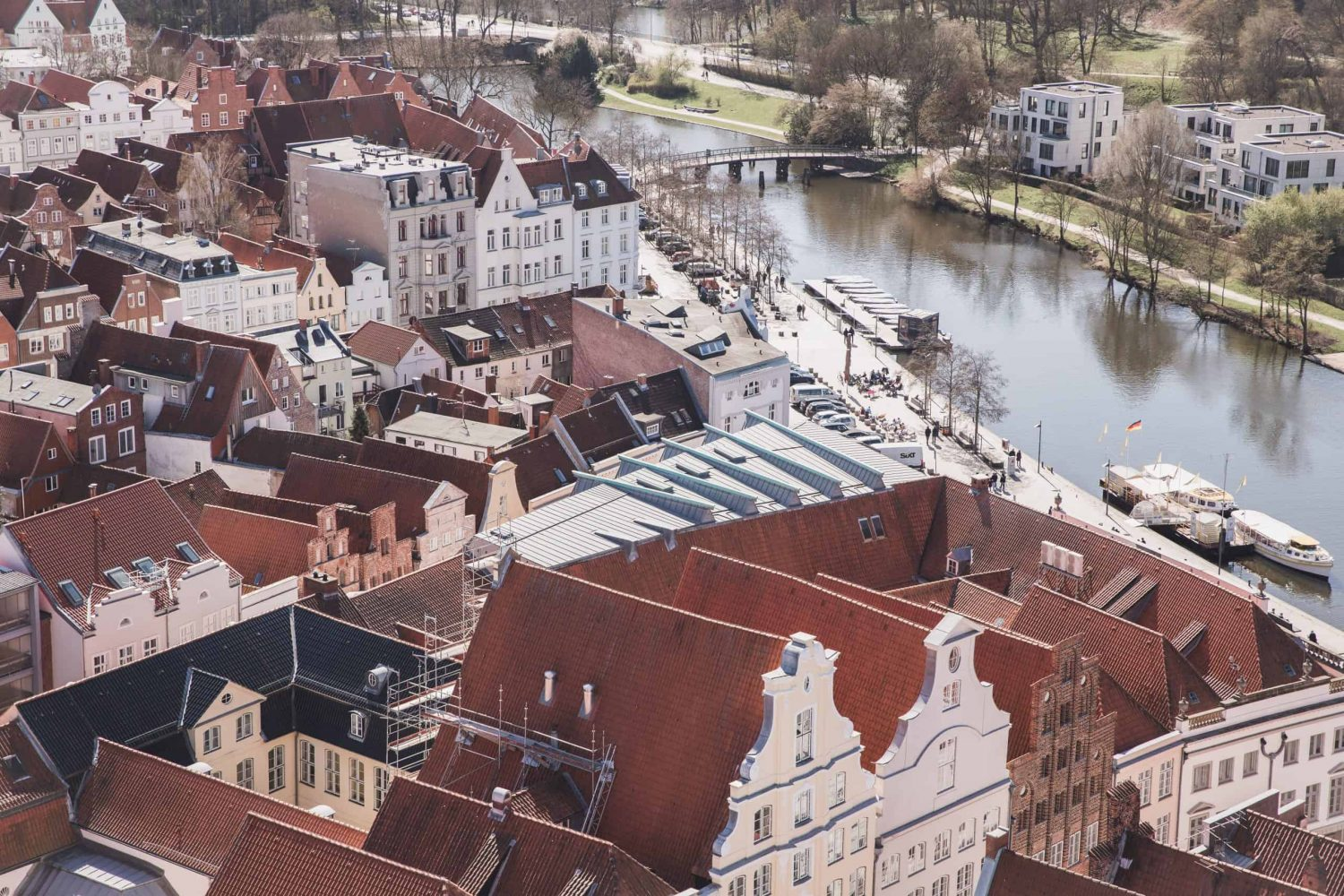 View of part of Lübeck Aldstadt, or Old Town, from the observation deck at St. Peter's Church.