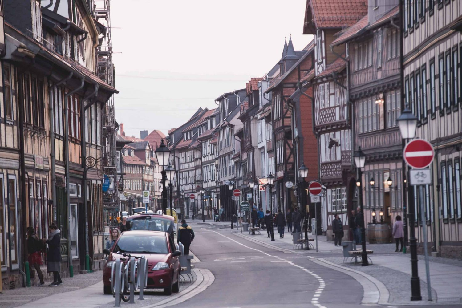 Wernigerode is a pretty town full of colorful half-timbered houses. Located in Germany, it's near the Harz Mountains and is one of 5 great day trips from Hamburg!