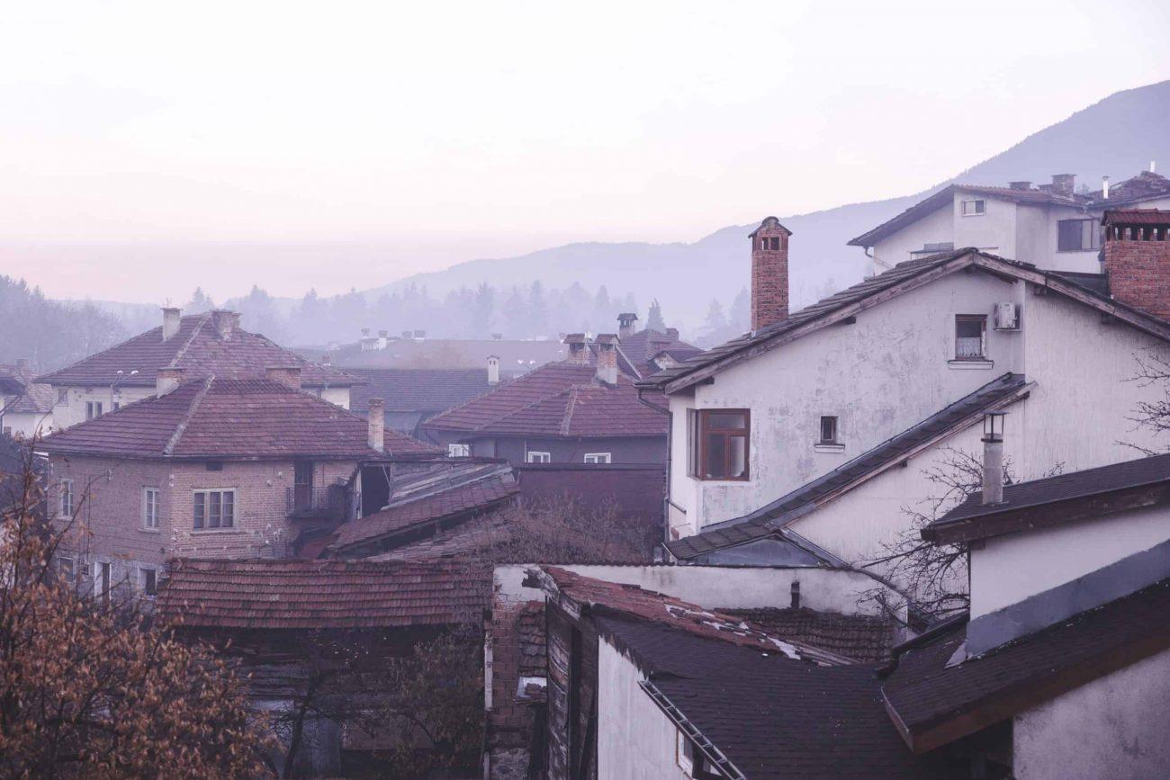 View of houses in Bansko, Bulgaria