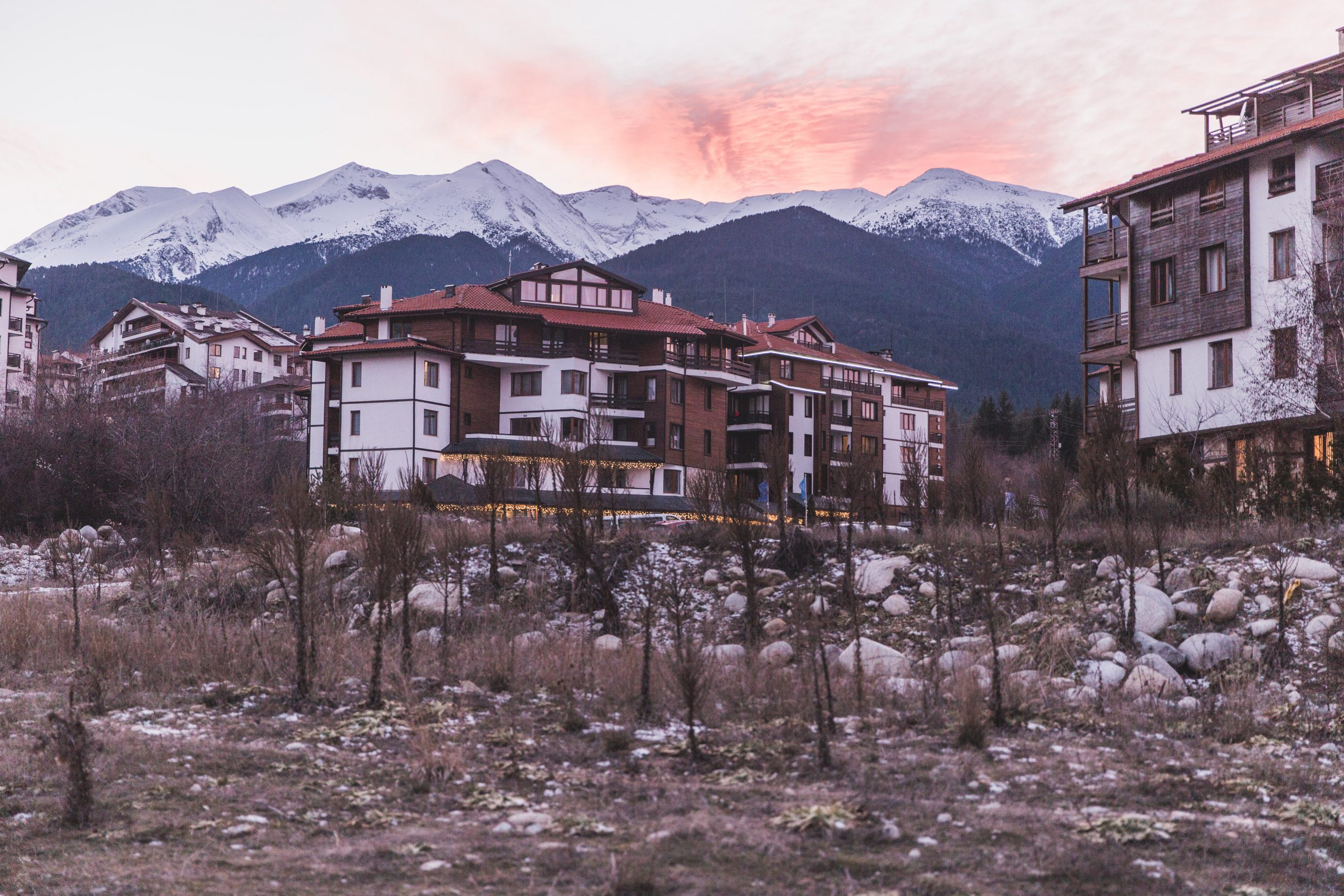 Bansko, Bulgaria at sunset.