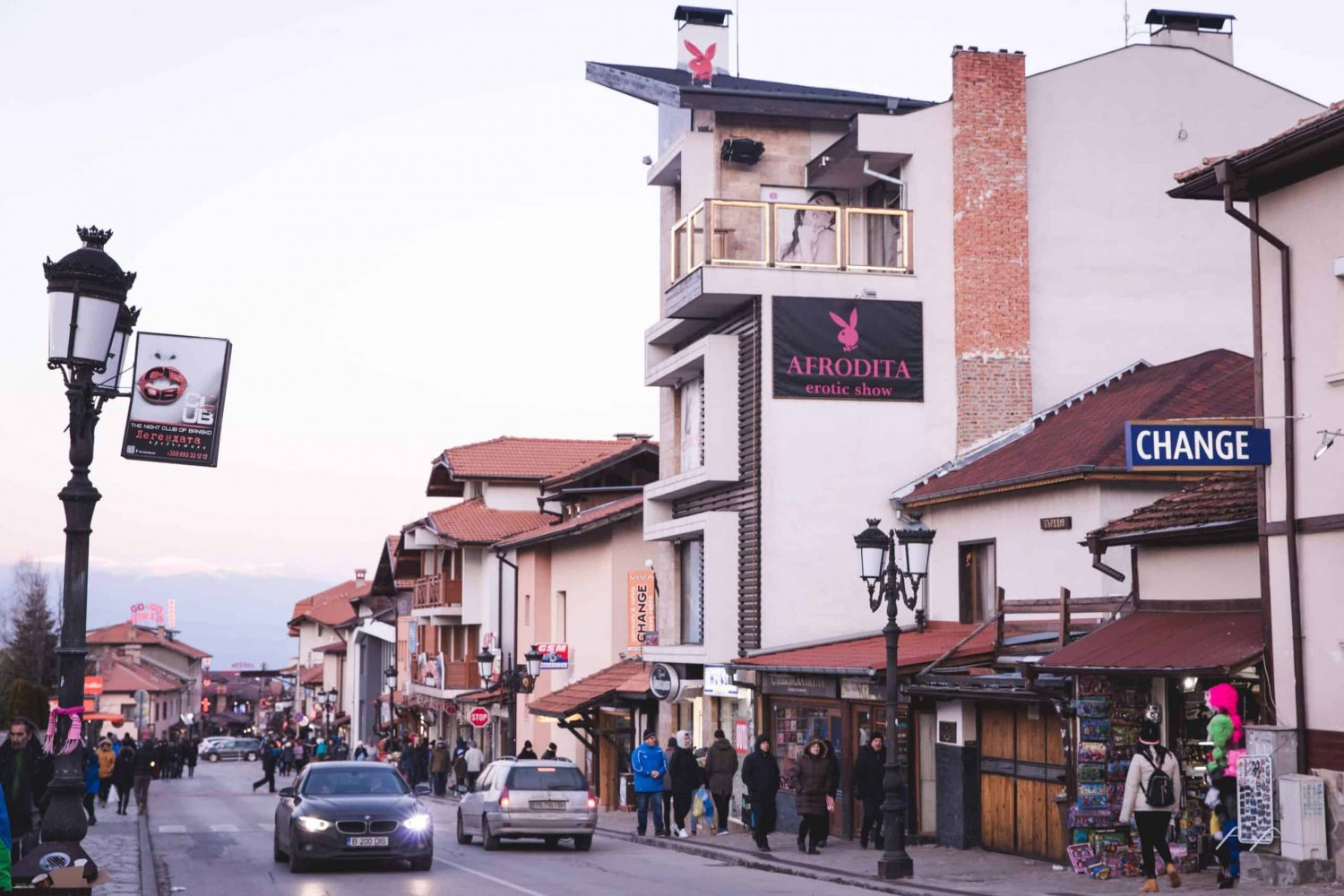 The top of Pirin Street in Bansko, Bulgaria.