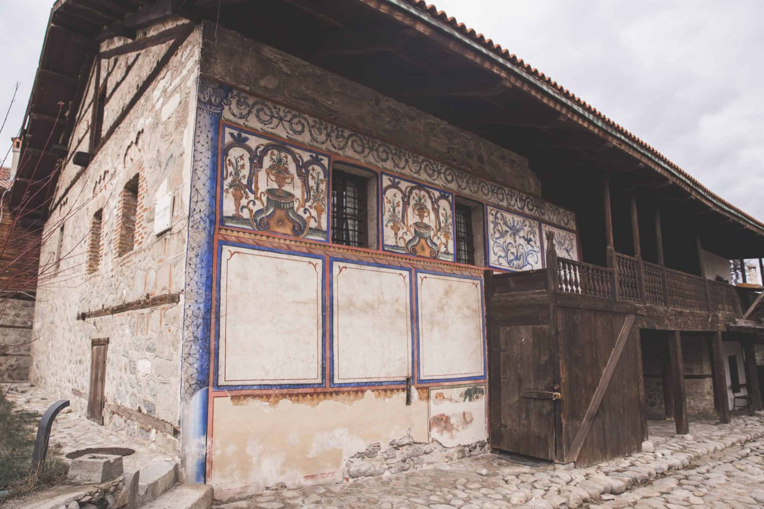 The outside of the Velyanova House in Bansko, Bulgaria, an old traditional Bulgarian house.