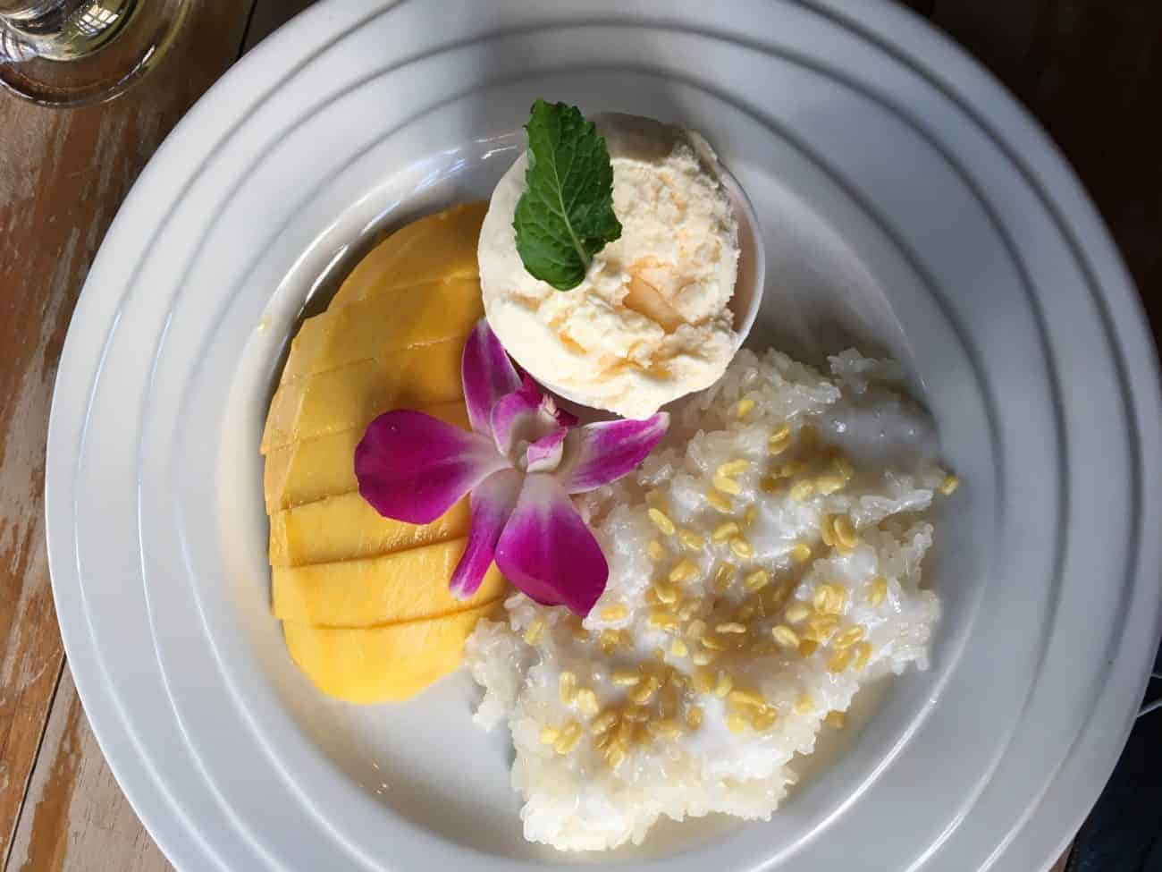 Mango sticky rice in Thailand