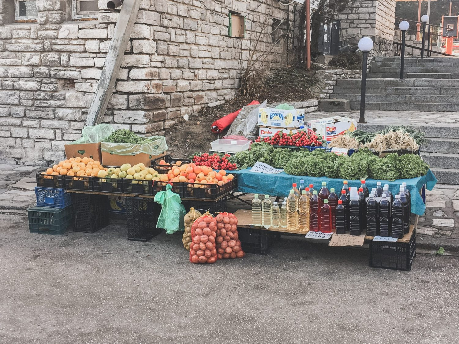 Stand at the local market in Bansko, Bulgaria