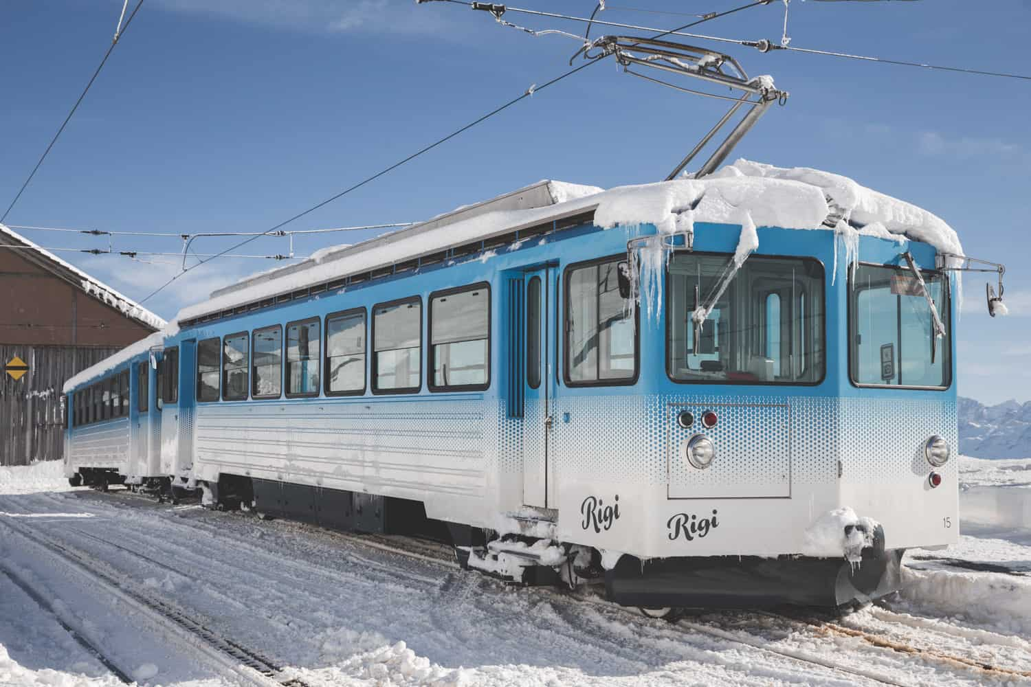 Tram frozen over on Mount Rigi in Switzerland. Rigi is a great winter destination - this was in February!