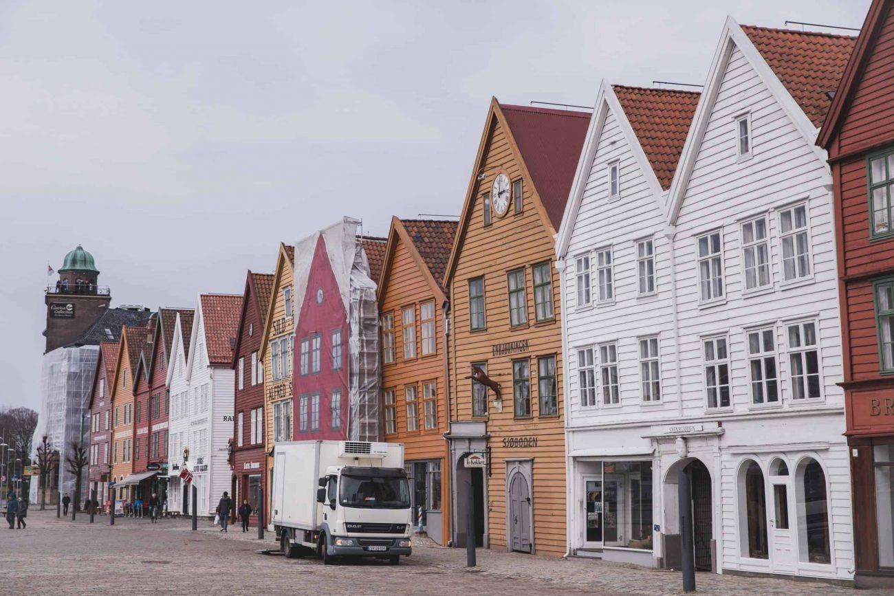 Bryggen, Hanseatic heritage commercial buildings in Bergen, Norway. Bergen is a great destination to visit in 2020.