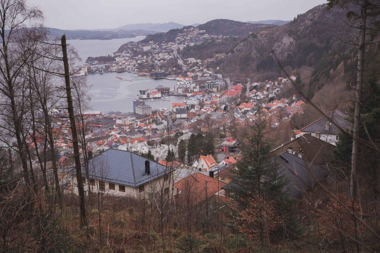 View of Bergen, Norway from the Fløyen hiking trail.