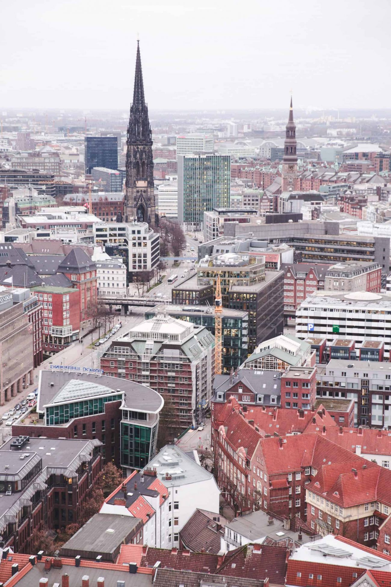 Hamburg, Germany from the tower at St. Michael's Church, or Michel. Hamburg is an excellent destination to travel to in 2020!