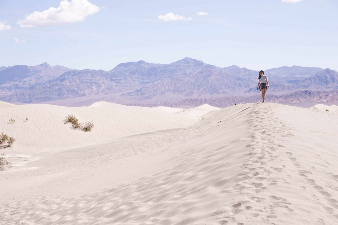 Kelsey walking on the Mesquite Flat Sand Dunes in Death Valley National Park, California